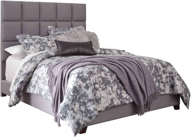 """Contemporary Queen Upholstered Panel Bed With Chime 10"""" Hybrid Plush Bed In A Box Mattress"""