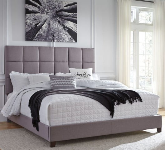 Contemporary King Gray Upholstered Panel Bed