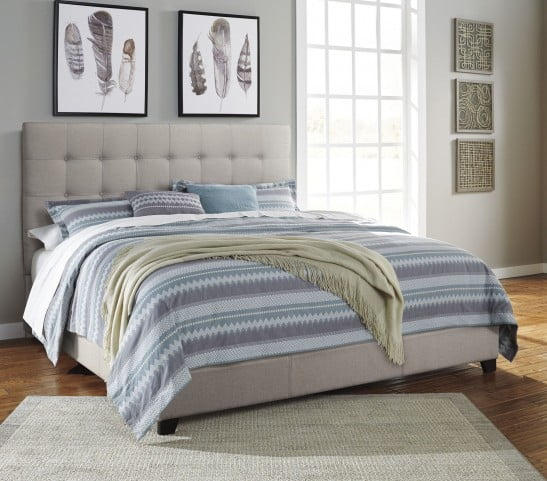 """Contemporary Beige Queen Upholstered Panel Bed With Chime 10"""" Hybrid Plush Bed In A Box Mattress"""