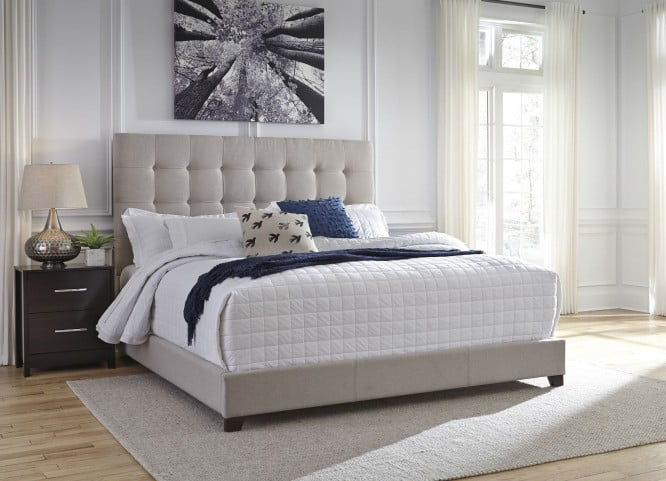 """Contemporary Beige Queen Upholstered Panel Bed With Chime 8"""" Innerspring Firm Bed In A Box Mattress"""
