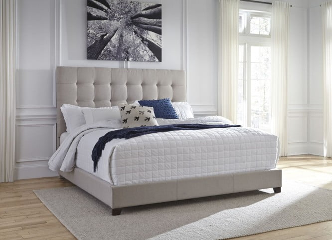 """Contemporary Beige Queen Upholstered Panel Bed With Chime 10"""" Luxury Firm Bed In A Box Mattress"""