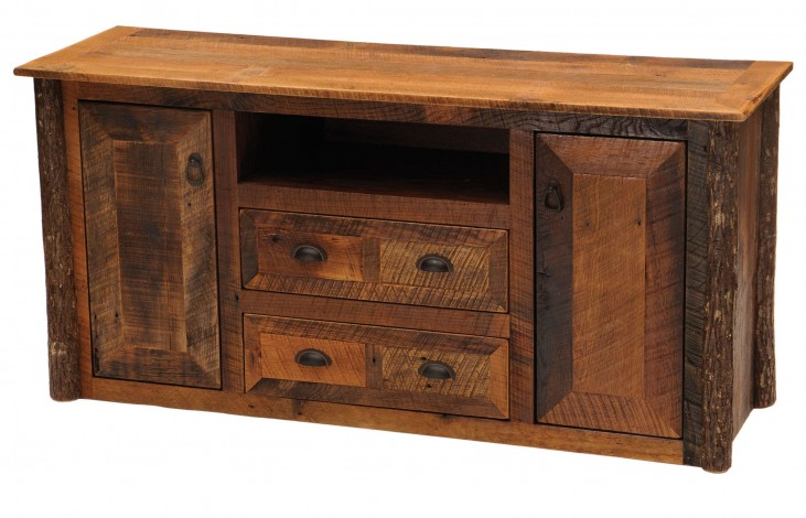 Barnwood Widescreen TV Stand With Hickory Legs