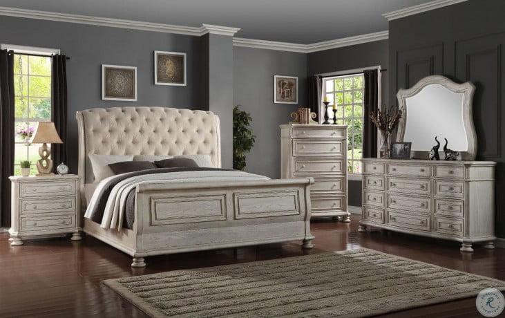 Barton Creek Off White Upholstered Sleigh Bedroom Set