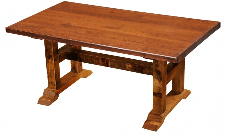 "Barnwood Timbers 84"" Antique Oak Top Rectangular Dining Table"