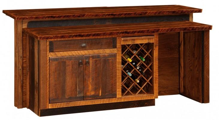 "Barnwood 84"" Artisan Top Right Side Standard Bar Cabinet"