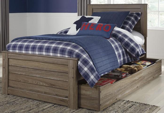 Javarin Grayish Brown Twin Trundle Panel Bed