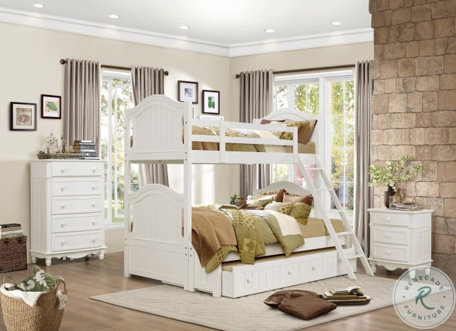 Clementine White Twin Over Full Bunk Bed With Trundle