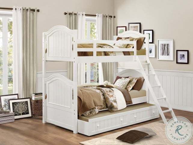 Clementine White Youth Bunk Bedroom Set with Trundle