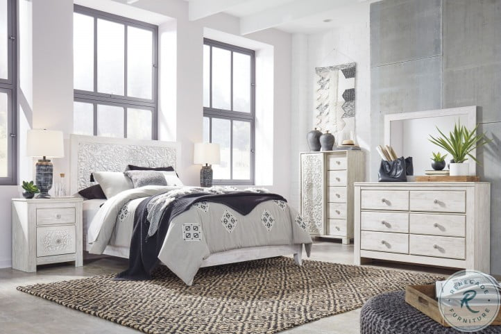 Paxberry Whitewash Panel Bedroom Set