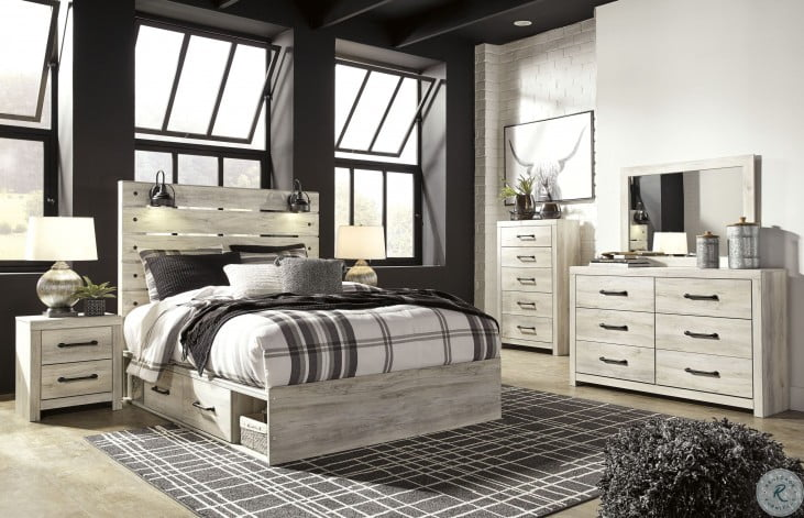 Cambeck Whitewash Panel Bedroom Set with Double Underbed Storage