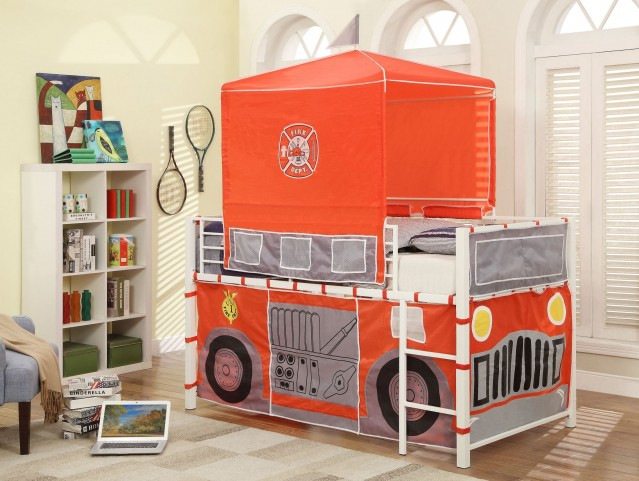 Combustion Bright White Fire Truck Loft Bed