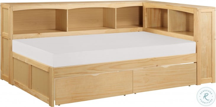 Bartly Natural Pine Youth Bookcase Corner Bedroom Set With Storage Boxes
