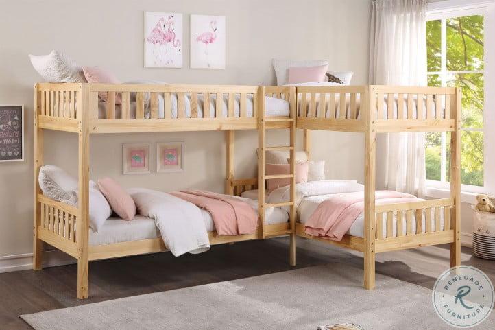 Bartly Natural Pine Youth L Corner Bunk Bedroom Set