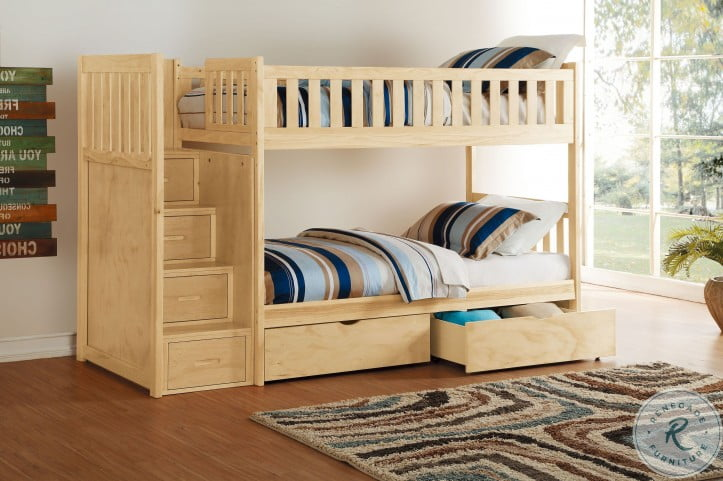 Bartly Natural Pine Youth Bunk Bedroom Set With Reversible Step Storage And Storage Boxes
