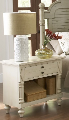 Woodhaven Antique White Drawer Nightstand