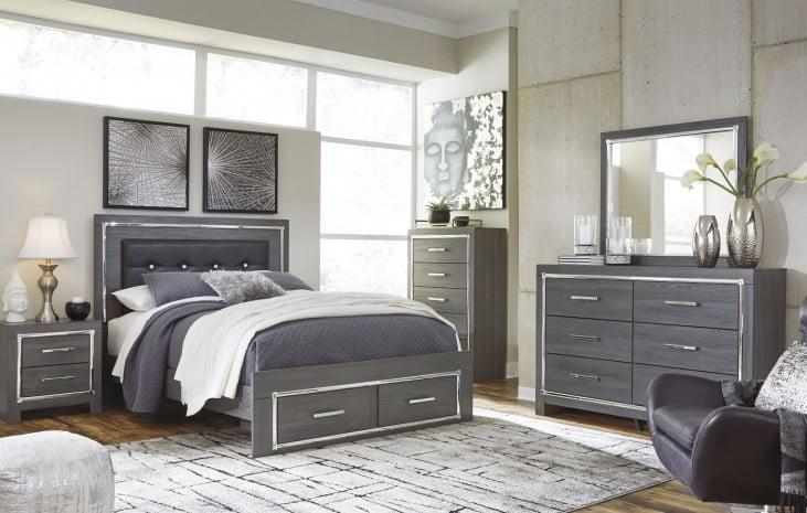 Lodanna Gray Upholstered Panel Storage Bedroom Set