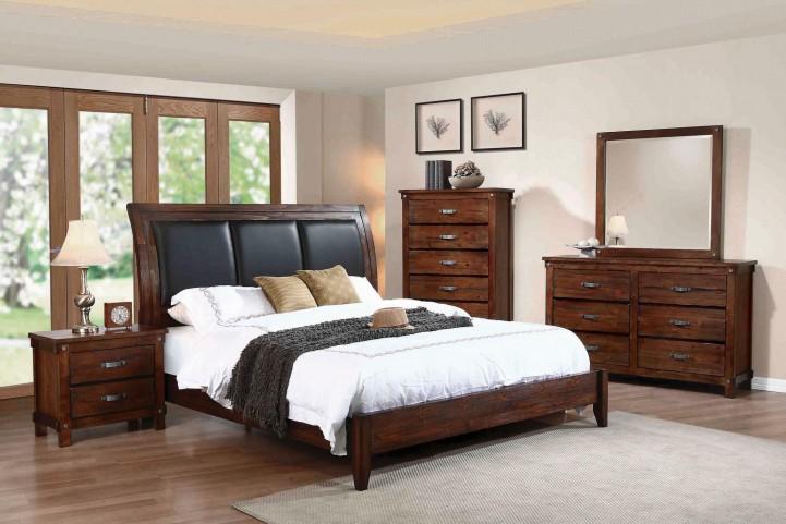 Noble Rustic Oak Queen Sleigh Bed
