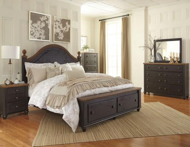 Maxington Black and Reddish Brown Panel Storage Bedroom Set
