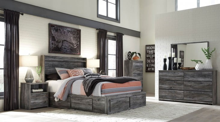 Baystorm Gray King Panel Double Underbed Storage Bed