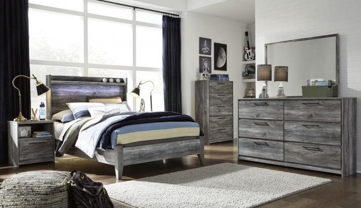 Baystorm Gray Full Panel Bed