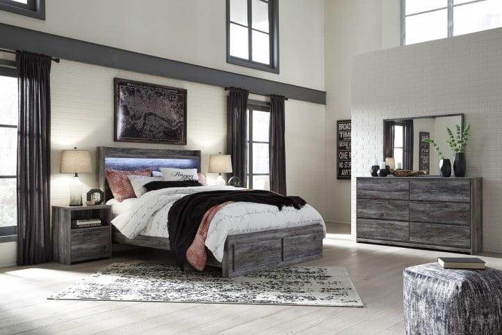 Baystorm Gray Queen Single Underbed Storage Panel Bed