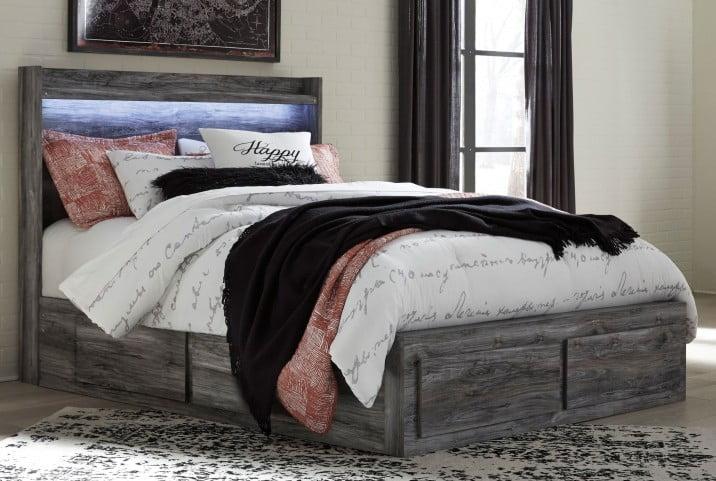 Baystorm Gray Queen Panel Double Underbed Storage Bed
