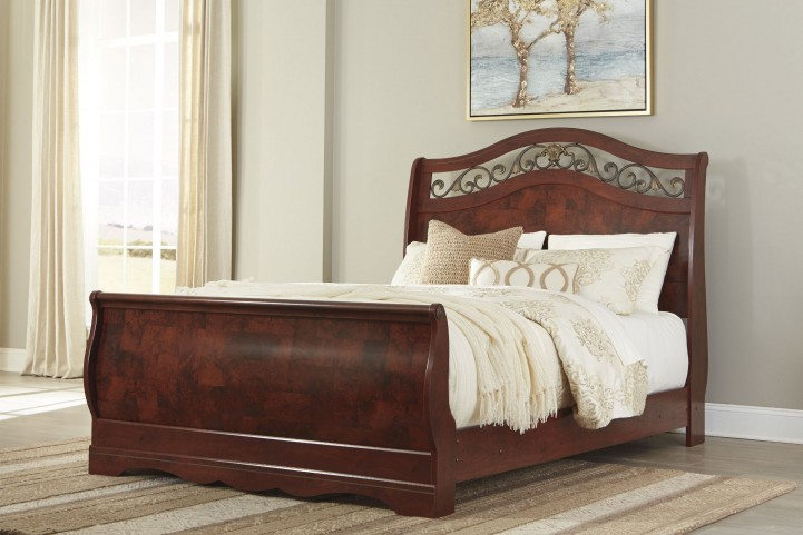 Delianna Brown Queen Sleigh Bed