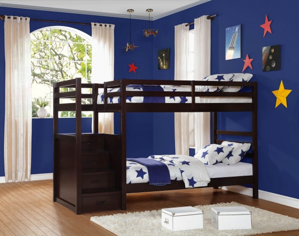 Atlas Twin Over Twin Bunk Bed With Step Storages
