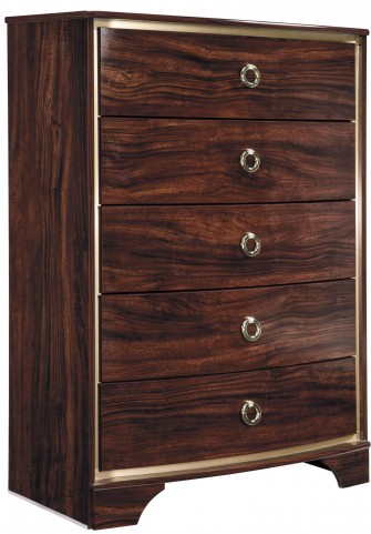 Lenmara Reddish Brown 5 Drawer Chest