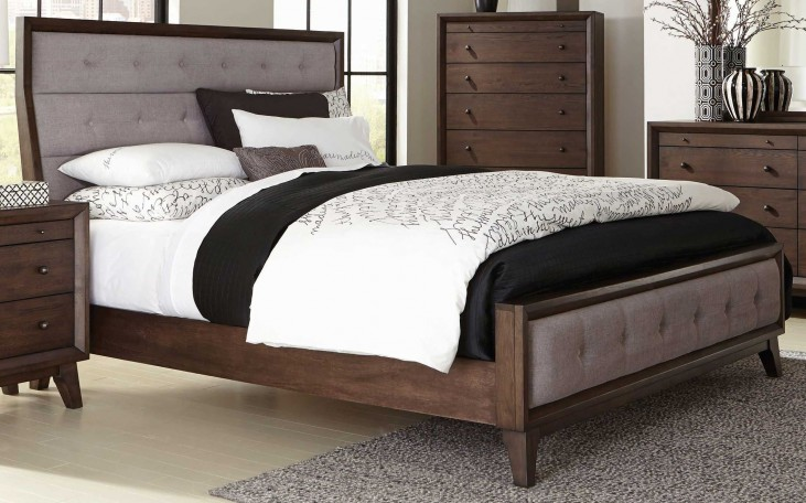 Bingham Brown Oak King Panel Bed