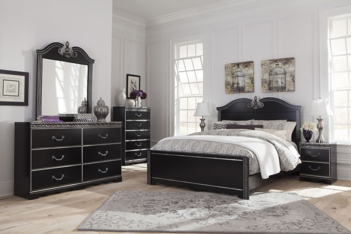 Navoni Black Panel Bedroom Set
