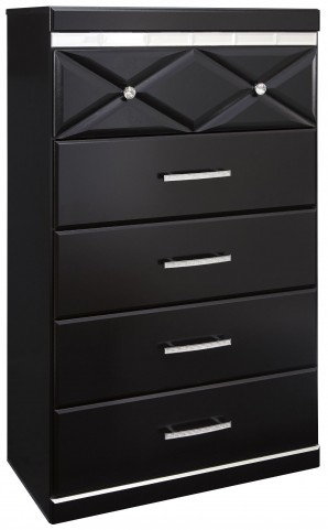 Fancee Black Five Drawer Chest