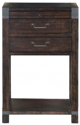 Pine Hill Rustic Pine Wood Open Nightstand