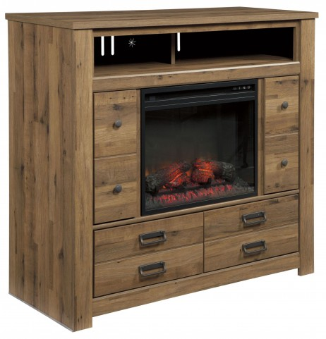 Cinrey Medium Brown Media Chest with Fireplace Insert