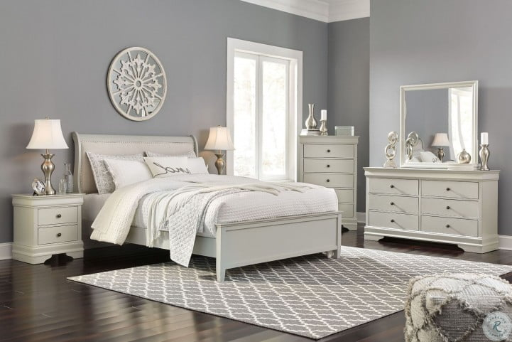 Jorstad Gray Upholstered Sleigh Bedroom Set From Ashley Coleman Furniture