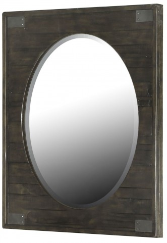 Abington Weathered Charcoal Portrait Oval Mirror
