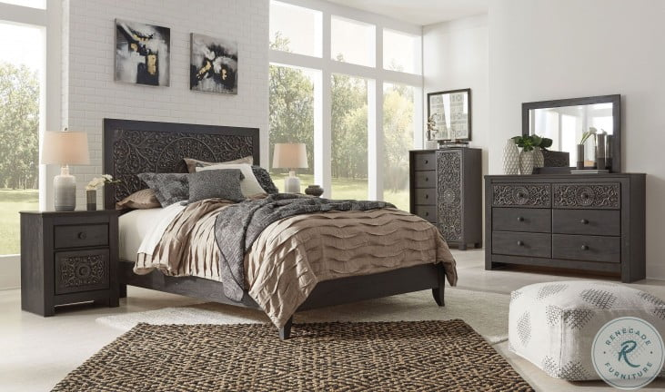 Paxberry Vintage Aged Black And Brown Panel Bedroom Set From Ashley Coleman Furniture