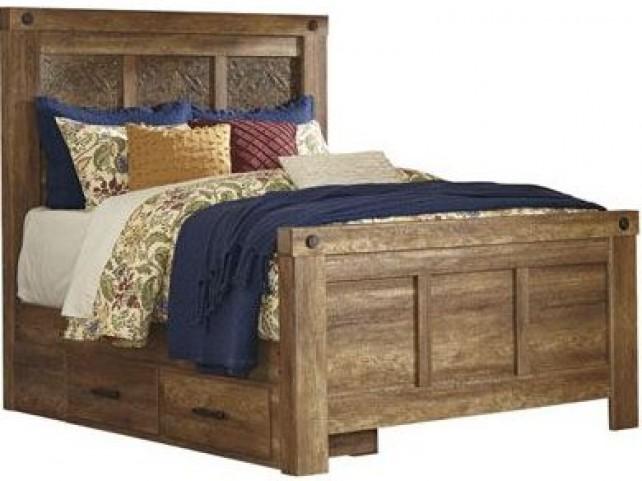 Ladimier Golden Brown Queen Mansion Storage Bed