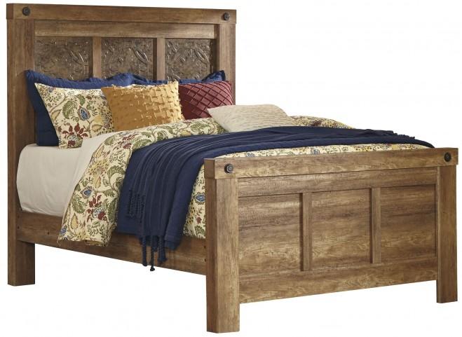 Ladimier Golden Brown King Mansion Bed