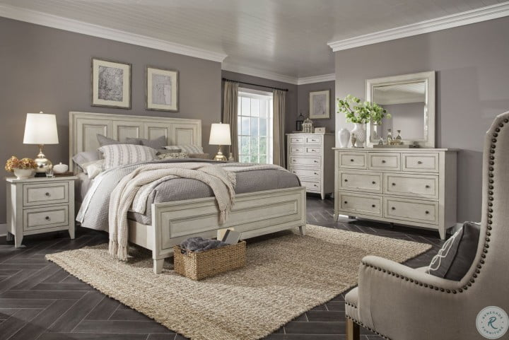 Raelynn Weathered White Panel Bedroom Set