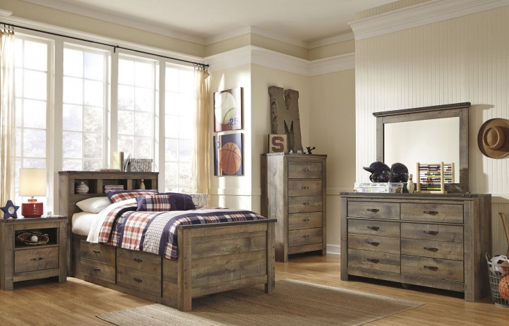 Trinell Brown Youth Bookcase Storage Bedroom Set