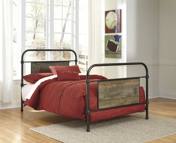 Trinell Brown Metal Twin Panel Bed