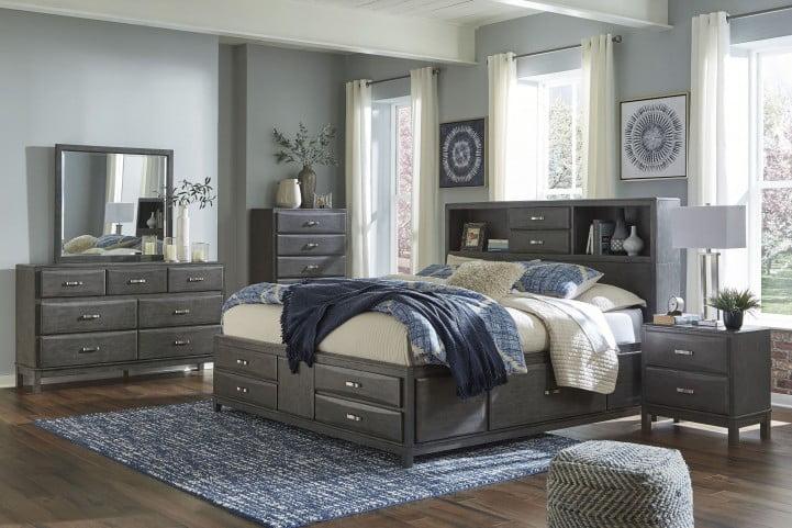 Caitbrook Gray Queen Bookcase Storage Panel Bed