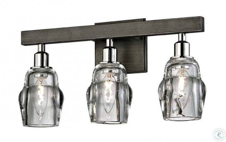 Citizen Graphite and Polished Nickel 3 Light Bathroom Light