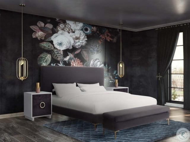 Delilah Grey Velvet King Upholstered Platform Bed