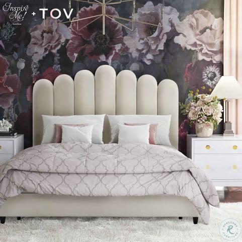 Celine Cream Velvet King Upholstered Platform Bed