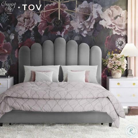 Celine Grey Velvet Queen Upholstered Platform Bed