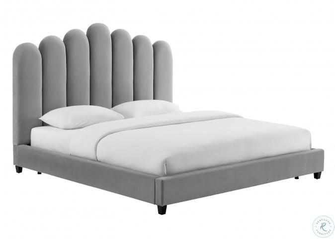 Celine Grey Velvet King Upholstered Platform Bed