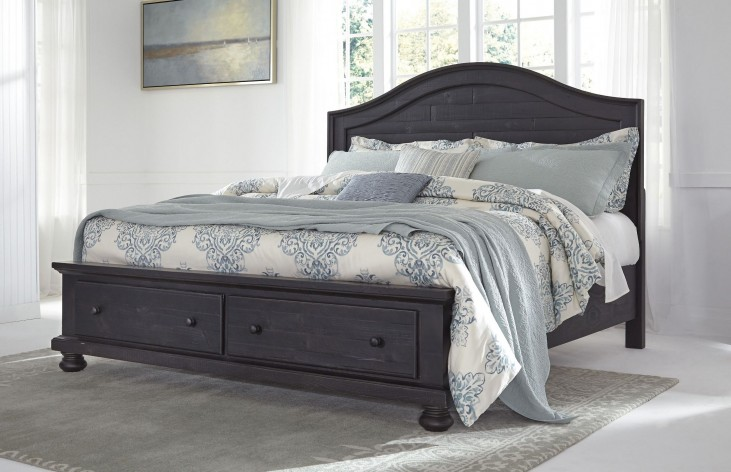 Sharlowe Charcoal King Storage Panel Bed