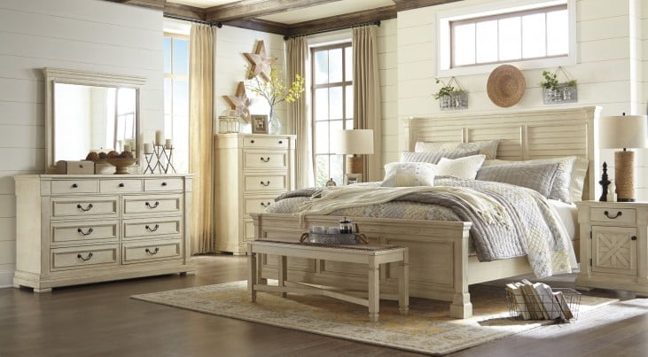 Bolanburg White Queen Louvered Panel Bed from Ashley ...